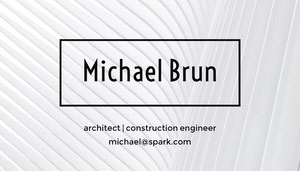 Black and White Professional Architect and Construction Engineer Business Card Carte de visite
