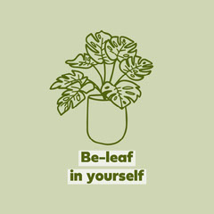 Green Plant Pun and Illustration Inspirational Phrase Instagram Square Plants