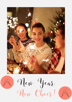 New Year New Cheer Card with People Holding Sparklers Christmas Party