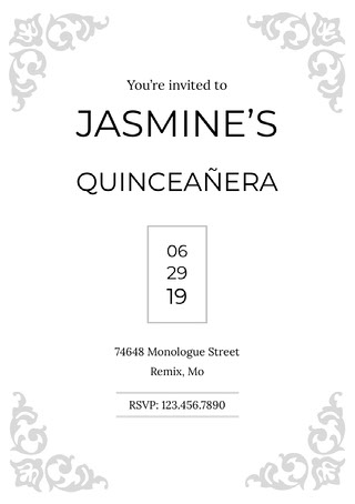 Black and White Birthday Invitation Quinceanera Invitation