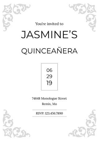 Jasmine's Quinceañera Invitación de quinceañera