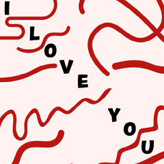 Red White Black I Love You Message Instagram Square Love