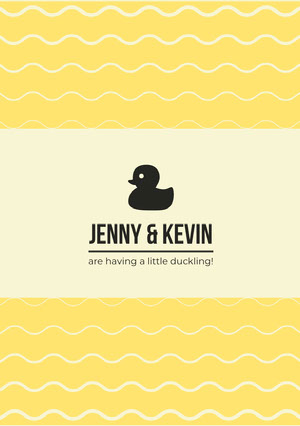 Yellow Pregnancy Announcement Card with Waves and Rubber Duck Pregnancy Announcement