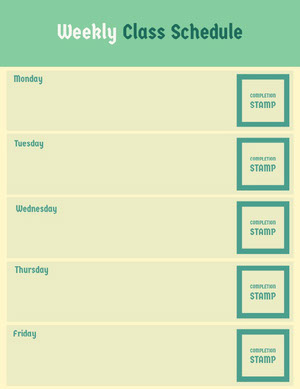 Green and Yellow School Lesson Plan Horario de clase