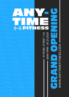 Black and Blue, Typography Fitness Club, Poster Workout