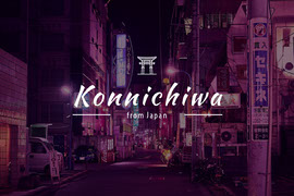 Konnichiwa Japan Postcard with City at Night Ansichtkaart