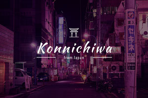 Konnichiwa Japan Postcard with City at Night Rejsepostkort