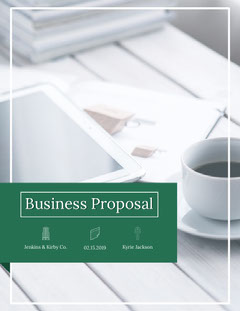 Green Business Proposal with Office Desk Coffee