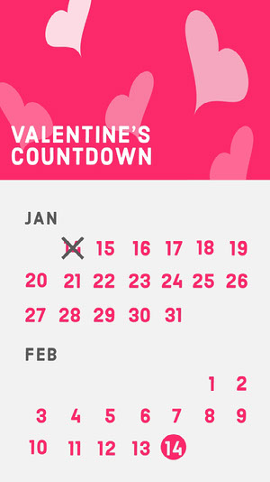Pink Hearts Valentine's Day Countdown Instagram Story Calendars