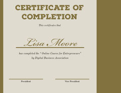 Gold and Beige Online Course Completion Certificate Educational Course