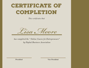 Gold and Beige Online Course Completion Certificate Certificato di diploma