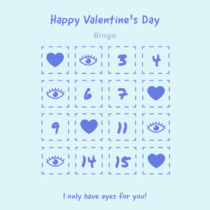Blue Eyes and Hearts Valentine's Day Party Bingo Card ビンゴカード