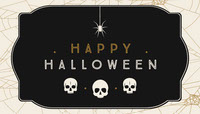 Black, White and Gold, Dark, Scary, Halloween Party Gift Tag Card Festa di Halloween