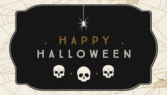 Black, White and Gold, Dark, Scary, Halloween Party Gift Tag Card Halloween Gift Tag