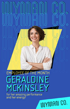 Blue ANd Yellow Portrait Employee Of The Month Poster Job Poster