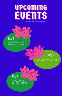 Blue Lily Pad Event Calendar  Garden