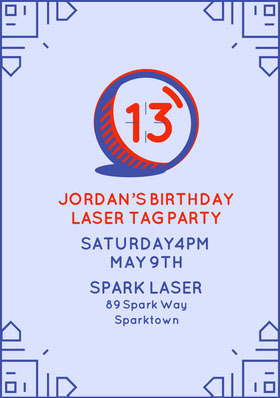 Blue and Orange Birthday Invitation Birthday Invitation (Boy)