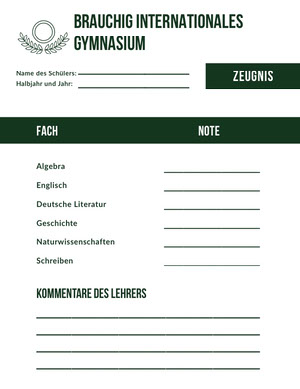 international high school report cards  Zeugnis