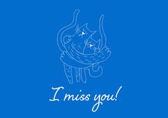 Blue Cat Illustration I Miss You Postcard Cat