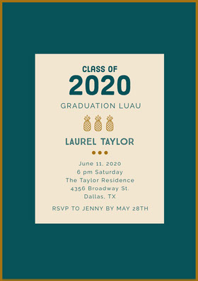 Teal and Gold Graduation Party Invitation Card with Pineapples Graduation Invitation