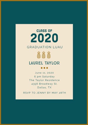Teal and Gold Graduation Party Invitation Card with Pineapples Einladung zur Abschlussfeier