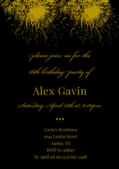 Gold and Black Elegant Sweet Sixteen Birthday Invitation Card with Fireworks Christmas Invitation
