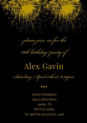 Gold and Black Elegant Sweet Sixteen Birthday Invitation Card with Fireworks Sweet 16 Invitation