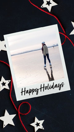 Blue & Red Happy Holidays Instagram Story Stars