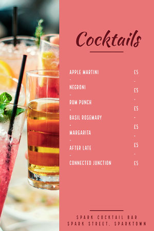 Pink and White Cocktails Menu Menú