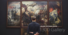 Black and Cold Toned Gallery Opening Facebook Cover Grand Opening Flyer