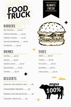 Burger Food Truck Menu  Food Truck