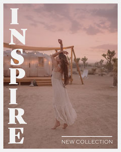 Grey Border with Desert Sunset Fashion Instagram Portrait Border