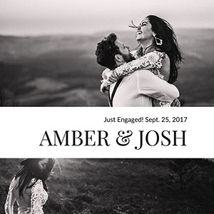 Black and White Engagement Instagram Announcement Post  Kihlausilmoitus