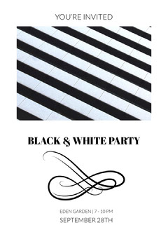 Black and White Party Invitation Black And White