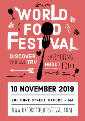 Pink, Black and White, Light Toned Food Festival Ad, Poster Ideas de volantes