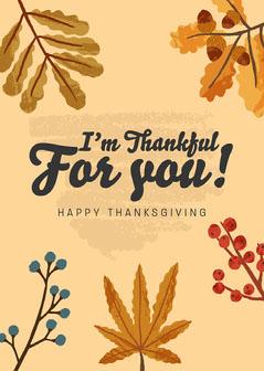 Thankful Leaves Thanksgiving Card  Thanksgiving