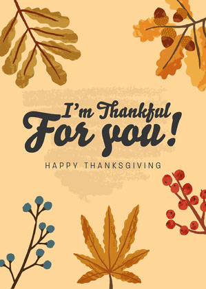 Thankful Leaves Thanksgiving Card  Happy Thanksgiving Card Messages