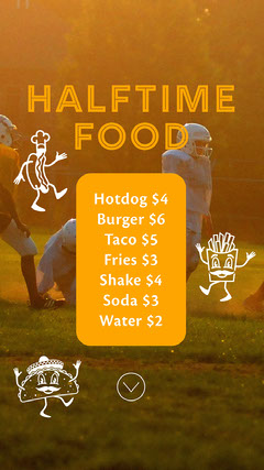 Orange Half Time Football Menu Instagram Story  Sports