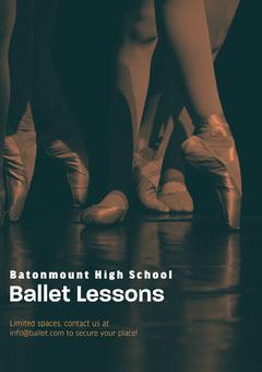 Toepoint Ballet class Poster School Dance Flyer