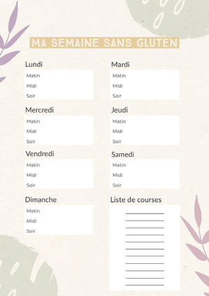 Green Yellow and Purple Gluten Free Weekly Meal Planner A4  Menu de la semaine