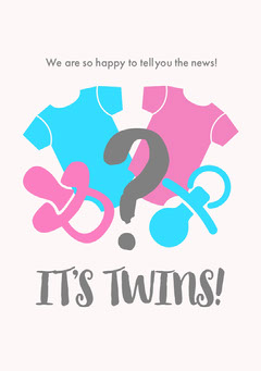 White, Blue and Pink Light Toned Twins Announcement Card Baby's First Year