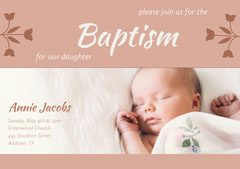 Orange Floral Baptism Announcement and Invitation Card with Baby Girl Baptism