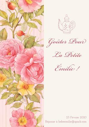 tea party baby shower invitations   Invitation fête de naissance