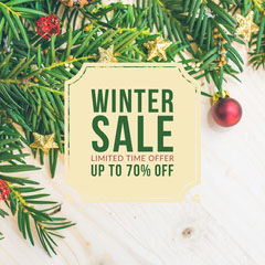 White and Green Winter Sale Instagram Square Holiday Sale