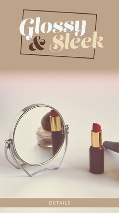 Beige Make Up Instagram Story Ad with Lipstick Makeup