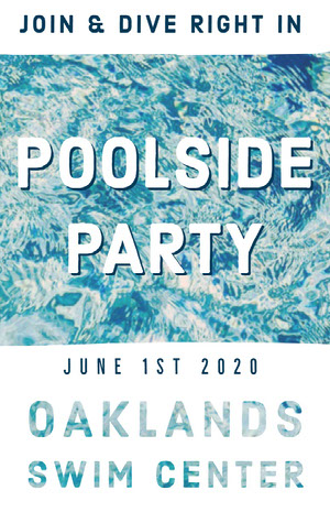 Blue and WHite Poolside Party Poster Pool Party Invitation