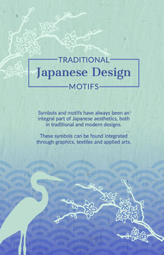 Blue and White Japanese Design Poster Japan