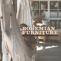 Bohemian Furniture Store Instagram Square Ad Graphic with Woman in Hammock 아마존 제품 사진