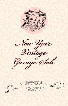 Pink, Light Toned, Vintage Garage Sale Poster Sale Flyer