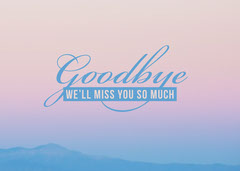 Pink and Blue Goodbye Card Farewell